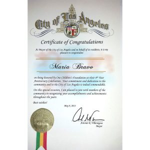 Recognition of the Mayor of Los Angeles, USA